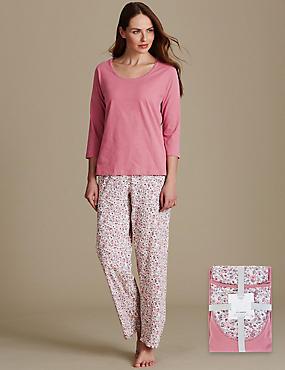 Pure Cotton Printed 3/4 Sleeve Pyjama Set, PINK MIX, catlanding