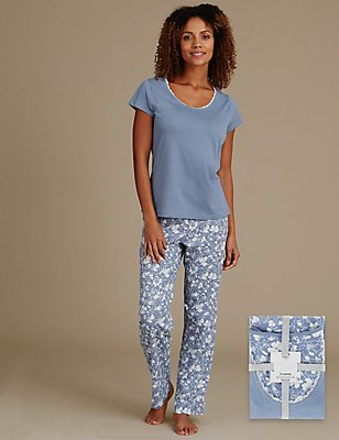 Pure Cotton Short Sleeve Pyjamas, BLUE, catlanding