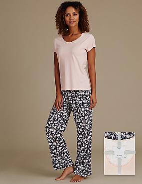 Pyjama à manches courtes et motif pluie de neige, ROSE ASSORTI, catlanding
