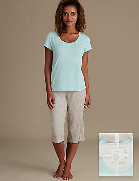 Pure Cotton Butterfly Print Pyjamas, AQUA MIX, catlanding