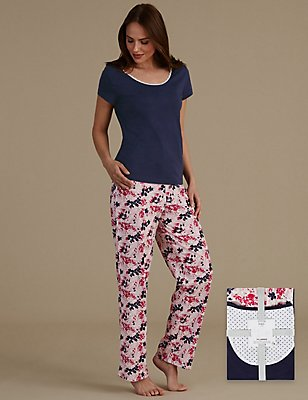 Pure Cotton Printed Short Sleeve Pyjama Set, BLUE, catlanding