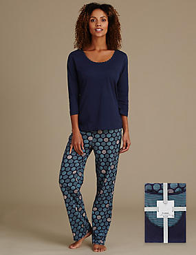Pure Cotton Big Spotted Pyjamas, NAVY MIX, catlanding