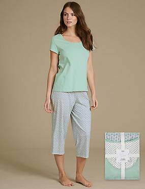 Kurzarm-Schlafanzug aus reiner Baumwolle mit Aufdruck, MINT MELANGE, catlanding