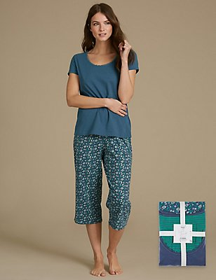 Pure Cotton Printed Short Sleeve Pyjama Set, NAVY MIX, catlanding