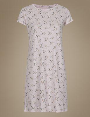 """Ночная рубашка из чистого хлопка с принтом """"птицы"""" M&S Collection T374176"""