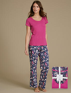 Pure Cotton Printed Short Sleeve Pyjamas, GRANITE, catlanding