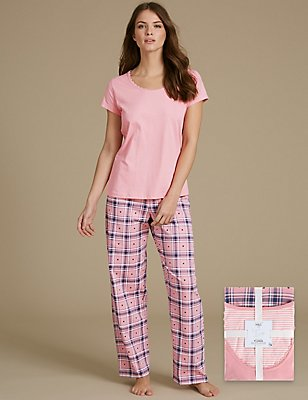 Pure Cotton Short Sleeve Pyjamas, PINK MIX, catlanding