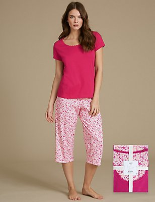 Pure Cotton Floral Print Short Sleeve Pyjamas, PINK MIX, catlanding