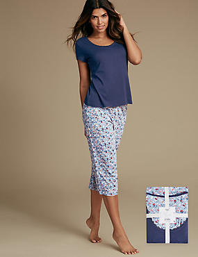 Pure Cotton Ditsy Print Pyjamas, BLUE MIX, catlanding
