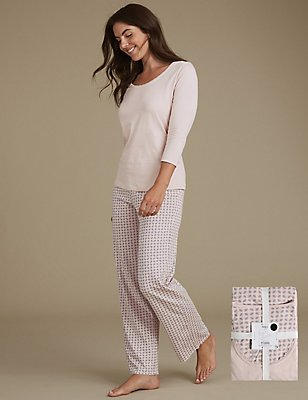 Pure Cotton Geometric Leaf Print Pyjamas, GREY MIX, catlanding