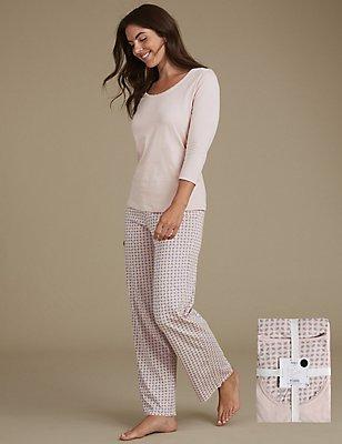 Schlafanzug aus reiner Baumwolle mit geometrischem Blattmuster, GRAU MELANGE, catlanding