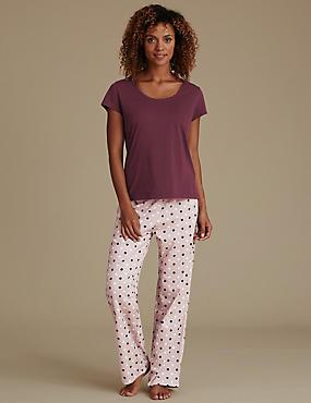 Pure Cotton Spotted Pyjamas, OATMEAL MIX, catlanding
