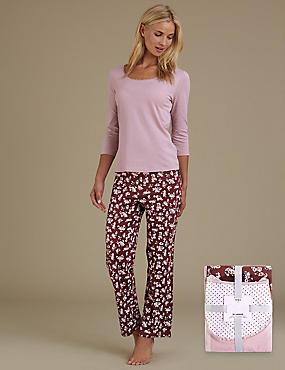 Pure Cotton Ditsy Floral Pyjamas, PLUM MIX, catlanding
