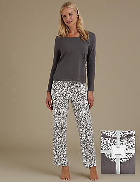 Pure Cotton Animal Print Pyjamas, GREY MIX, catlanding