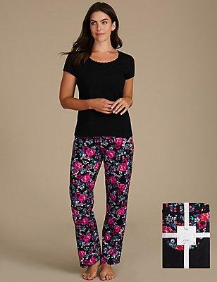 Kurzarm-Schlafanzug aus reiner Baumwolle mit Blumenmuster, SCHWARZ MELANGE, catlanding