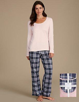 Langarm-Schlafanzug mit Aufdruck aus reiner Baumwolle, BLAU MELANGE, catlanding