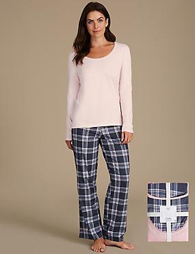 Pyjama 100% coton à manches longues avec imprimé, BLEU ASSORTI, catlanding