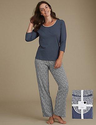 Schlafanzug aus reiner Baumwolle mit Blümchendesign, MARINEBLAU MELANGE, catlanding