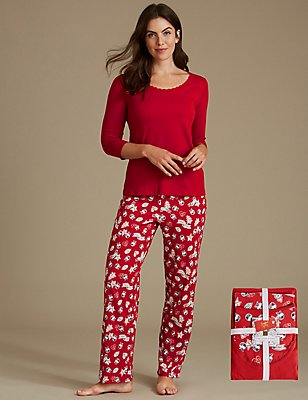 Pure Cotton Christmas Print 3/4 Sleeve Pyjamas, RED MIX, catlanding