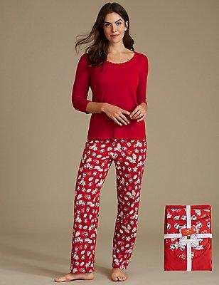 Schlafanzug aus reiner Baumwolle mit 3/4-Arm und Weihnachtsmotiv, ROT MELANGE, catlanding