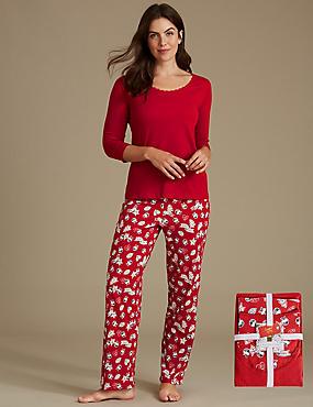 Pure Cotton Christmas Print 3/4 Sleeve Pyjamas, RED MIX, catlanding