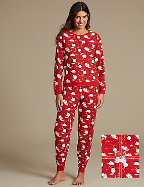 Penguin All Over Print Pyjamas, RED MIX, catlanding