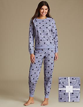 Star Print Long Sleeve Pyjamas, BLUE MIX, catlanding