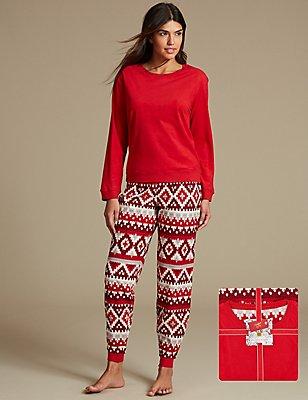 Pyjama à manches longues et imprimé jacquard, ROUGE ASSORTI, catlanding