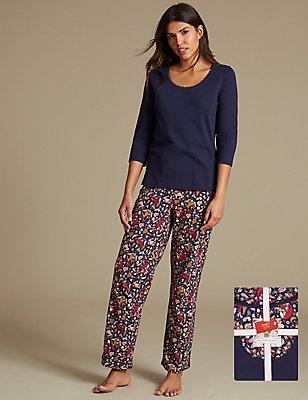 Pyjama 100% coton à manches3/4, doté de la technologie StayNEW™, BLEU MARINE ASSORTI, catlanding