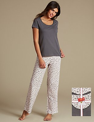 Pure Cotton Short Sleeve Pyjamas with StayNEW™, OATMEAL MIX, catlanding