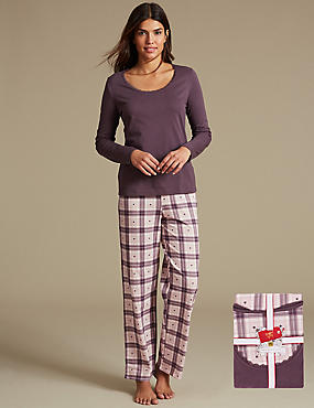 Pure Cotton Checked Pyjamas with StayNEW™, PURPLE MIX, catlanding