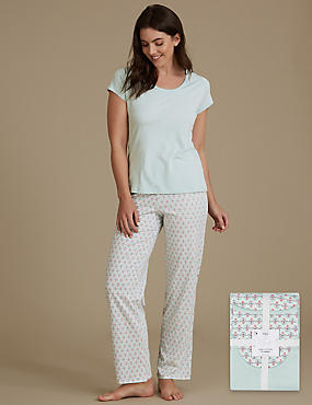 Pure Cotton Geometric Print Pyjamas, SAGE MIX, catlanding