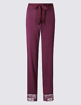 Drawstring Long Pyjama Bottoms, AUBERGINE, catlanding
