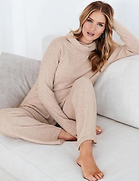 Pure Cashmere Straight Leg Pyjama Bottoms, CHAMPAGNE, catlanding