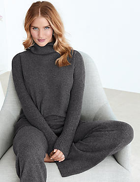 Pure Cashmere Straight Leg Pyjama Bottoms, CHARCOAL, catlanding