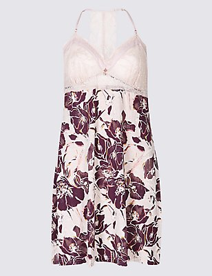Floral Print Nightdress, PINK MIX, catlanding
