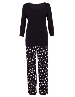 Pure Cotton 3/4 Sleeve Bow Print Pyjamas Clothing