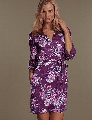 Floral Belted Wrap, PURPLE MIX, catlanding