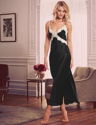 Pure Silk Lace Long Nightdress, BLACK MIX, catlanding