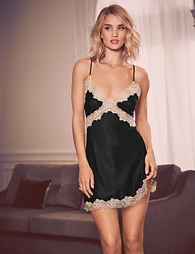 Pure Silk French Designed Lace Trim Chemise