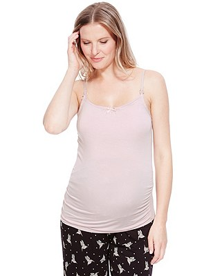 Secret Support™ Maternity Camisole Top with Shelf Support, PINK, catlanding