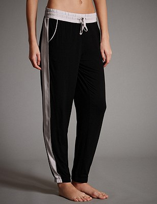Soft Colour Block Long Pants, BLACK MIX, catlanding