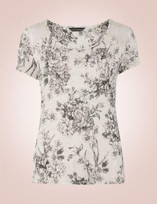 Пижамный топ из вискозы с английской розой в графике от Marks & Spencer