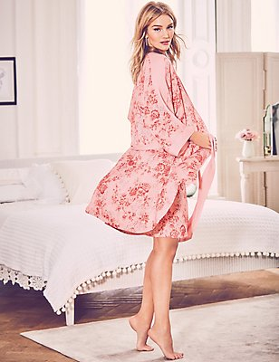 Floral Print Dressing Gown, PINK MIX, catlanding