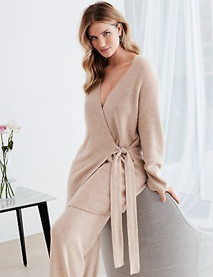 Pure Cashmere Long Sleeve Dressing Gown, CHAMPAGNE, catlanding