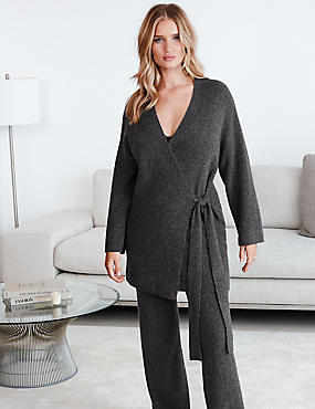 Pure Cashmere Long Sleeve Dressing Gown, CHARCOAL, catlanding