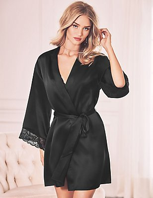 Silk Dressing Gown, BLACK MIX, catlanding