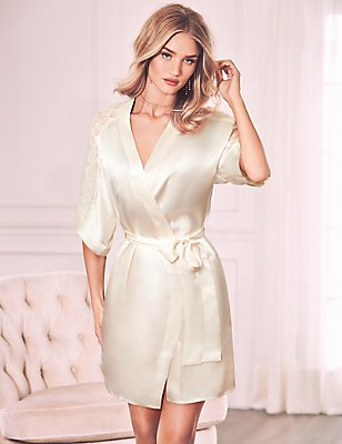 Pure Silk Lace Trim Short Dressing Gown, IVORY, catlanding