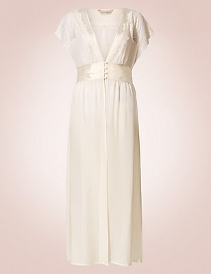 Pure Silk Long Wrap Dressing Gown, IVORY, catlanding