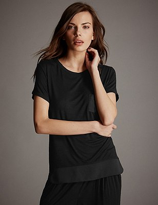 Short Sleeve Pyjama Top, BLACK, catlanding